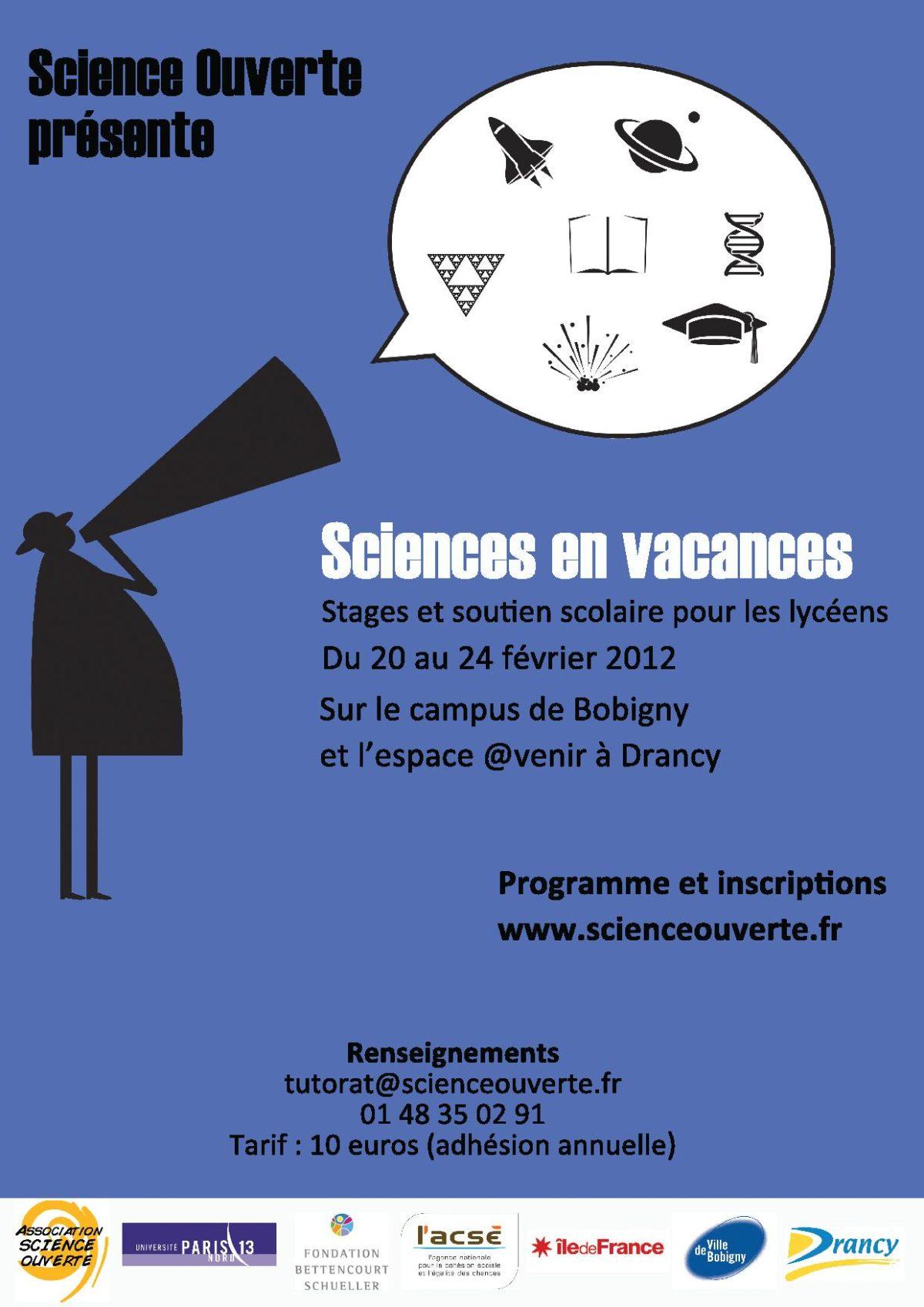 Affiche Sciences en vacances Hiver 2012